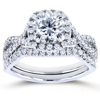 Annello by Kobelli White Gold 1 3/4ct TDW Round Diamond Braided Bridal Set (H-I, I1-I2)