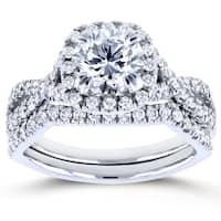 Annello by Kobelli 14k White Gold 1 3/4ct TDW Round Diamond Braided Bridal Set