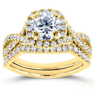 Annello by Kobelli Yellow Gold 1 3/4ct TDW Round Diamond Braided Bridal Set (H-I, I1-I2)