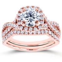 Annello by Kobelli 14k Rose Gold 1 3/4ct TDW Round Diamond Braided Crisscross Bridal Set