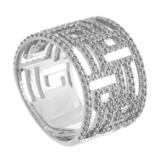 Azaro 14k White Gold 7/8ct TDW Grecian Key Diamond Band (H, SI1-SI2)