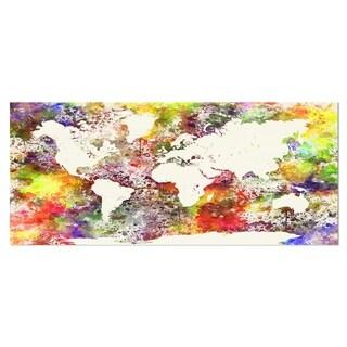 Designart 'World Map in Great Colors' Watercolor Map Metal Wall Art