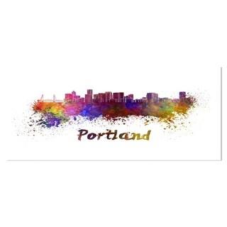 Designart 'Portland Skyline' Cityscape Metal Wall Art