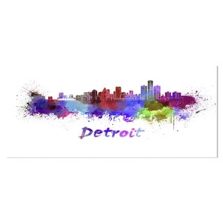 Designart 'Detroit Skyline' Cityscape Metal Wall Art