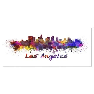 Designart 'Los Angeles Skyline' Cityscape Metal Wall Art