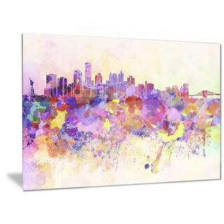 Designart 'Purple New York Skyline' Cityscape Metal Wall Art
