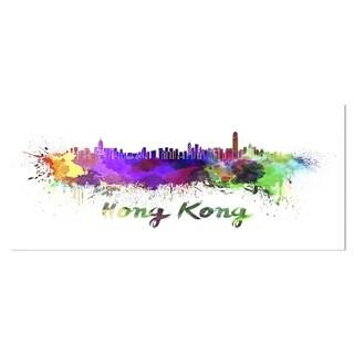 Link to Designart 'Hong Kong Skyline' Cityscape Metal Wall Art Similar Items in Metal Art