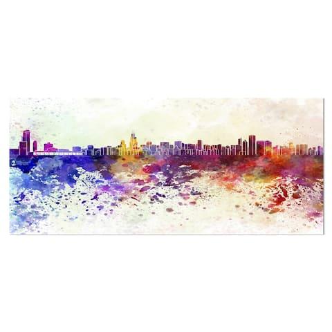Designart 'Chicago Skyline' Cityscape Metal Wall Art