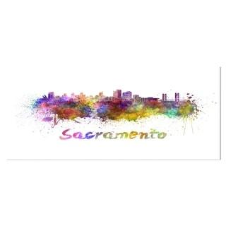 Designart 'Sacramento Skyline' Cityscape Metal Wall Art