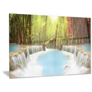 Designart 'Huai Mae Kamin Waterfall' Photography Metal Wall Art