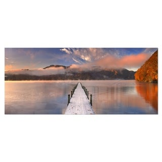 Designart 'Jetty in Lake Japan' Seascape Photography Metal Wall Art