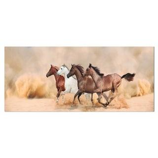 Designart 'Herd Gallops in Sand Storm' Landscape Photo Metal Wall Art