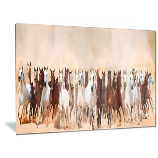 Designart 'Horses Herd in Sand Storm' Landscape Photography Metal Wall Art