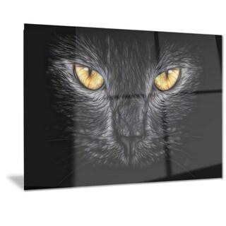 Designart 'Black Cat Eyes' Metal Wall Art