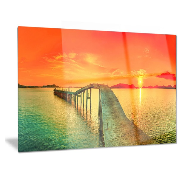 Designart 'Fabulous Sunset Panorama' Photo Seascape Metal Wall Art