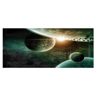 Designart 'Space Planet Illustration' Contemporary Metal Wall Art