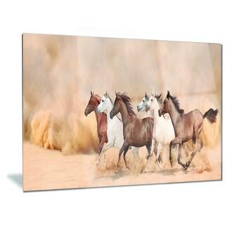 Designart 'Herd Gallops in Sand storm' Landscape Photography Metal Wall Art