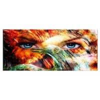 Designart 'Woman Feather Collage' Portrait Metal Wall Art