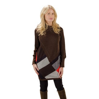 Trisha Tyler Women's Brown Long-sleeved Button Tunic Turtleneck Sweater