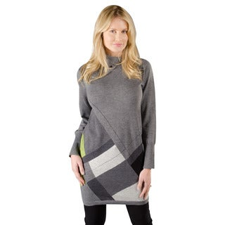 Trisha Tyler Women's Grey and Green Cotton Long-sleeve Button Turtleneck Tunic Sweater