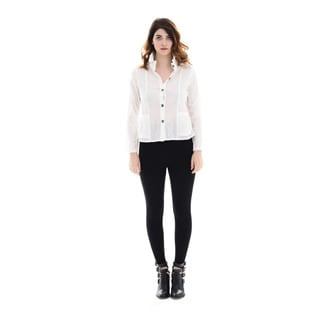 Trisha Tyler Women's Woven Solid White Cotton and Polyester Crinke Basic Shirt