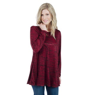 Trish Tyler Women's Burgundy/Black Polyester/Rayon/Spandex Long Sleeve Fashion Crew Neck Tunic