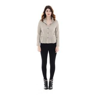 Trisha Tyler Women's Woven Solid Tan Cotton and Polyester Crinke Basic Shirt
