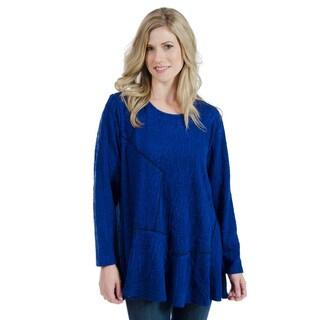 Trish Tyler Women's Blue Textured Round-neck Tunic