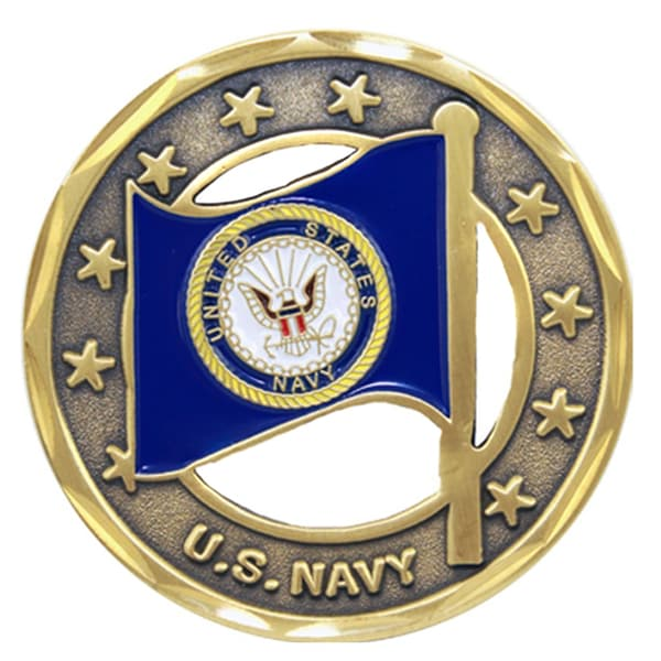 US Navy Flag Cutout Challenge Coin