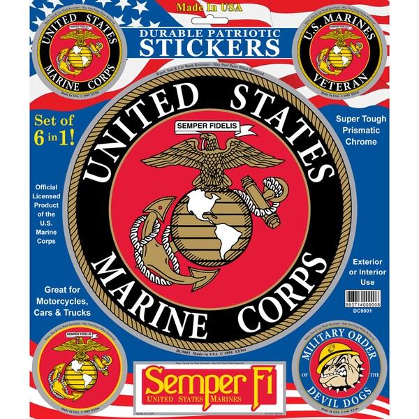 U.S. Marine Corps Patriotic Car Decals (Set of 6)