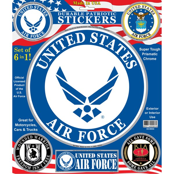 United States Air Force Patriotic Car Decals (Set of 6)
