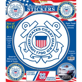 U.S. Coast Guard Patriotic Car Decals (Set of 6)