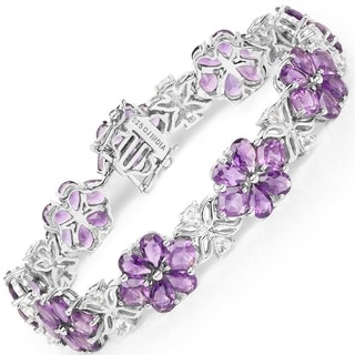 Malaika 0.925 Sterling Silver 26.10-carat Genuine Amethyst and White Topaz Bracelet