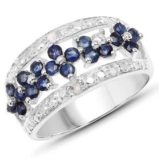 Malaika .925 Sterling Silver 0.92-carat Genuine Blue Sapphire and White Diamond Ring