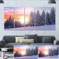 Winter Sunset in Bulgaria - Landscape Photo Canvas Art Print - Blue