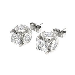 De Couer 14k White Gold 1ct TDW Diamond Stud Earring (H-I, I3)
