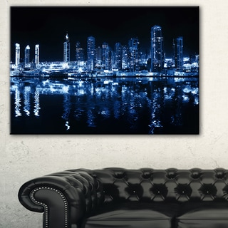 Glowing City at Midnight - Cityscape Photo Canvas Artwork