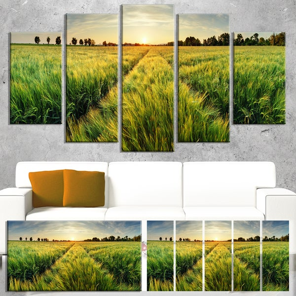 green wheat field at sunset landscape large wall art canvas free