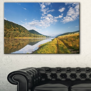 Mountain River under Blue Sky - Landscape Photo Canvas Artwork