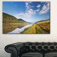 Mountain River under Blue Sky - Landscape Photo Canvas Artwork - Green