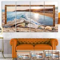 Framed Rocky Beach - Seashore  Art Canvas Print