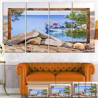 Framed Boat in Ocean - Seashore  Art Canvas Print
