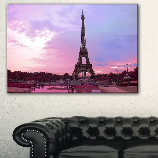 3c541af3f3 Shop Eiffel Tower in Purple Tone - Landscape Large wall art canvas ...