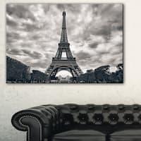 Eiffel Tower Under Dramatic Sky - Skyscape Large wall art canvas - Black