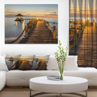 Brown Wooden Pier in Evening - Seashore Large wall art canvas