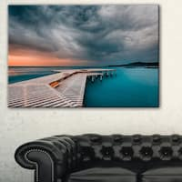 Pier in Ocean in Cloudy Day - Seashore Large wall art canvas