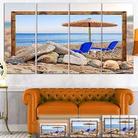 Framed Beach with Chairs, Umbrella - Seashore Canvas Print