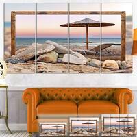 Framed Beach Seating - Seashore  Art Canvas Print