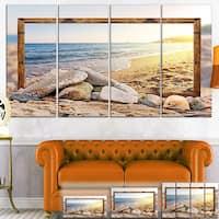 Framed Beach Rocks - Seashore  Art Canvas Print