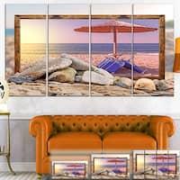 Framed Beach Sunset - Seashore  Art Canvas Print
